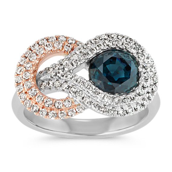 Round Blue Green Sapphire and Diamond Ring in 14k White and Rose Gold