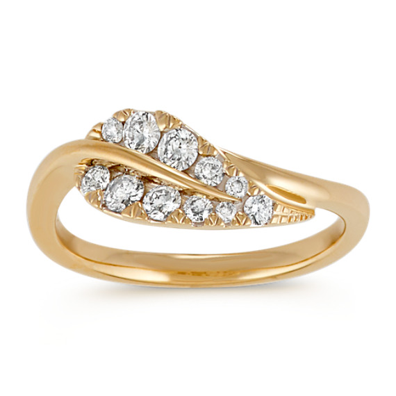 Round Diamond 14k Yellow Gold Leaf Ring