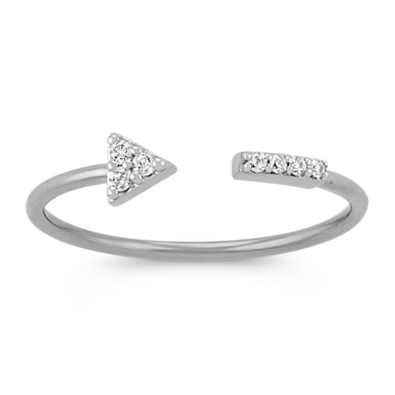 Round Diamond Arrow Ring in 14k White Gold