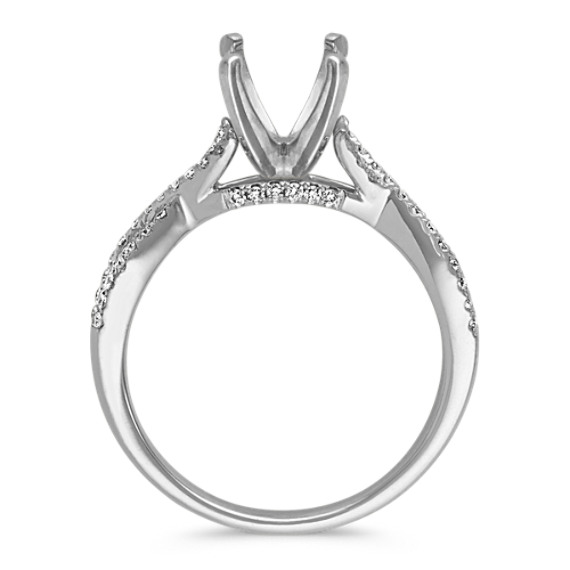 Round Diamond Cathedral Infinity Engagement Ring with Pave-Setting image
