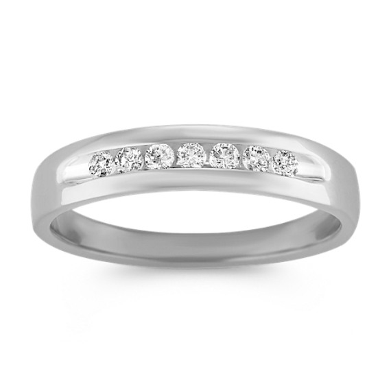 Round Diamond Channel-Set Mens Ring
