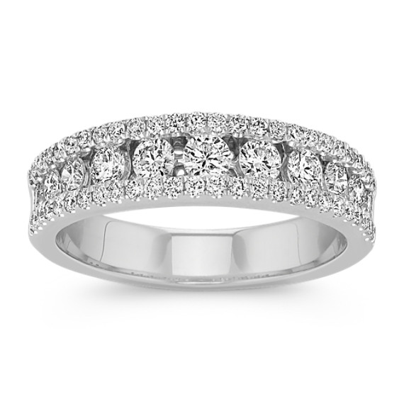 Round Diamond Channel-Set Wedding Band in 14k White Gold