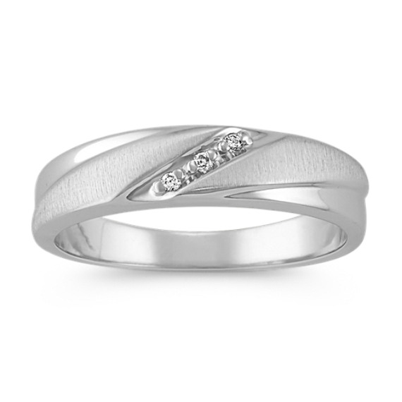 Round Diamond Contemporary Band with Brushed Finish (6mm)