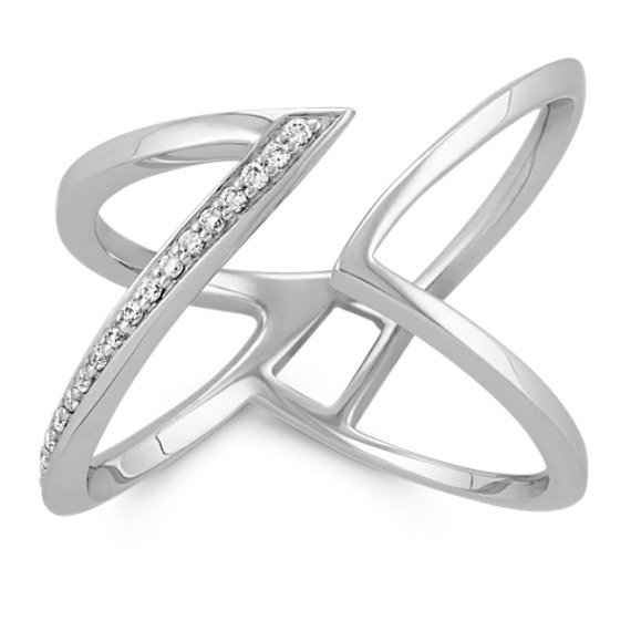 Round Diamond Contemporary Open Ring