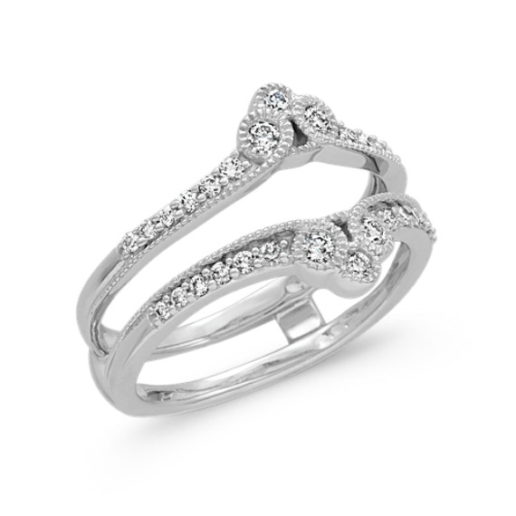 Round Diamond Contour Engagement Ring Guard in 14k White Gold