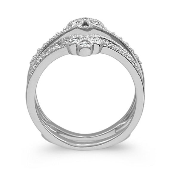 Round Diamond Contour Engagement Ring Guard in 14k White Gold image