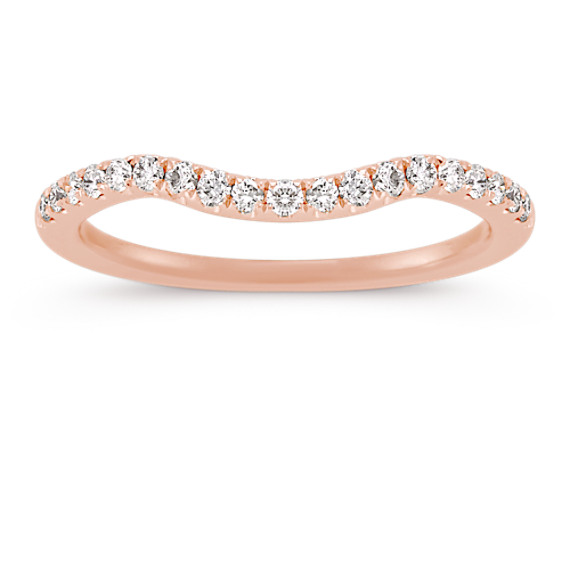 Round Diamond Contour Wedding Band in 14k Rose Gold
