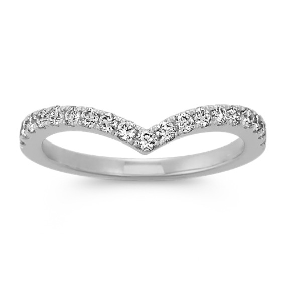 Round Diamond Contour Wedding Band in 14k White Gold
