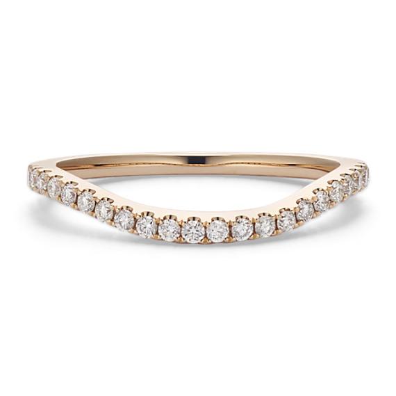 Round Diamond Contour Wedding Band in 14k Yellow Gold