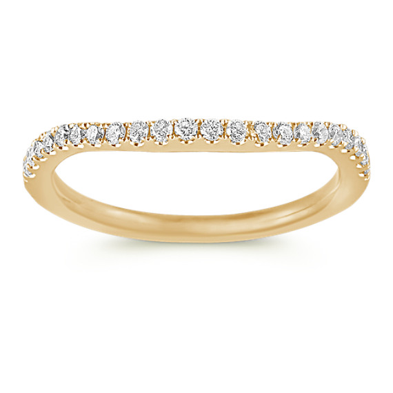 Round Diamond Contour Wedding Band in 14k Yellow Gold