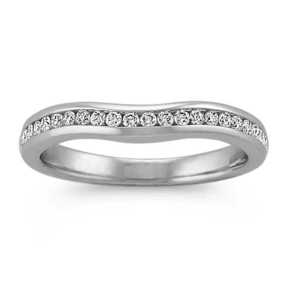 Round Diamond Contour Wedding Band with Channel-Setting