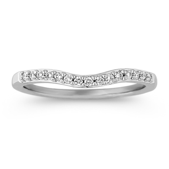 Round Diamond Contour Wedding Band with Pave Setting