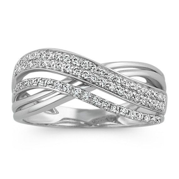 Round Diamond Crossover Ring in 14k White Gold