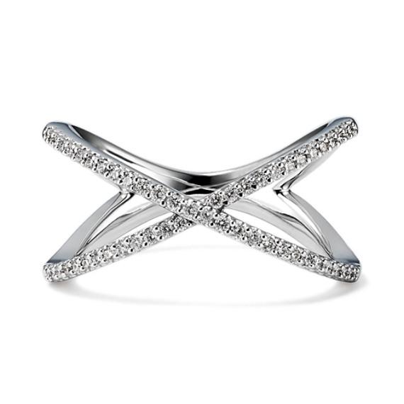 Round Diamond Crossover Ring
