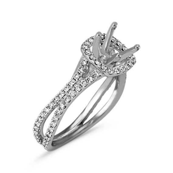 f8d5e3dff8683 Round Diamond Cushion Halo Split Shank Engagement Ring