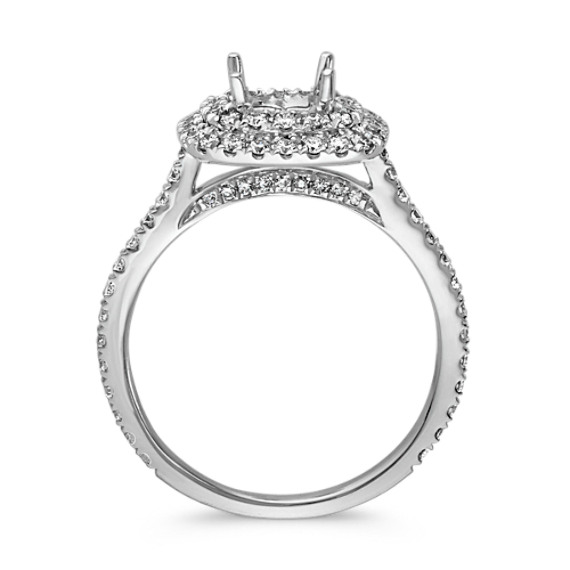 Round Diamond Double Halo Engagement Ring with Pave-Setting image