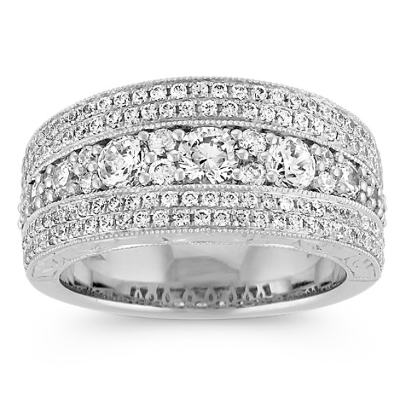 Round Diamond Engraved Ring with Milgrain Detailing in 14k White Gold