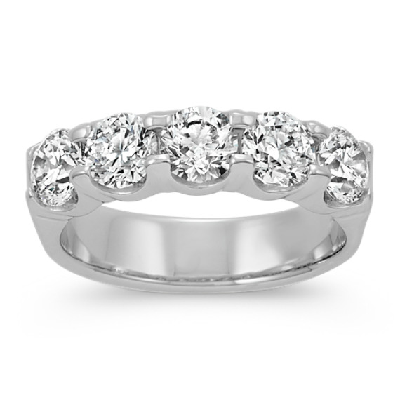 Round Diamond Five Stone Wedding Band In Platinum