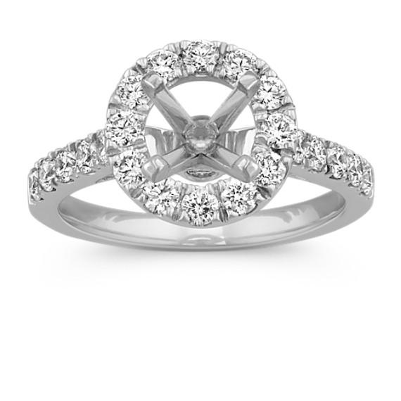 Round Diamond Halo Engagement Ring in Platinum
