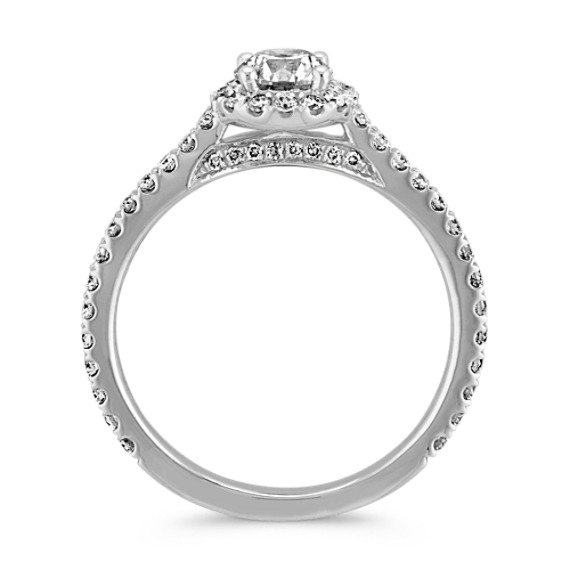 Round Diamond Halo Engagement Ring with Pave-Setting image