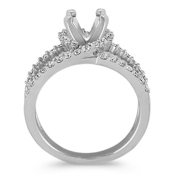 Round Diamond Halo and Split Shank Ring image