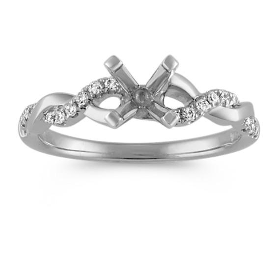 Round Diamond Infinity Engagement Ring in 14k White Gold