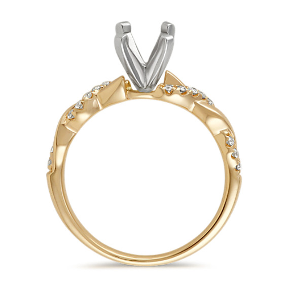 Round Diamond Infinity Engagement Ring in 14k Yellow Gold image