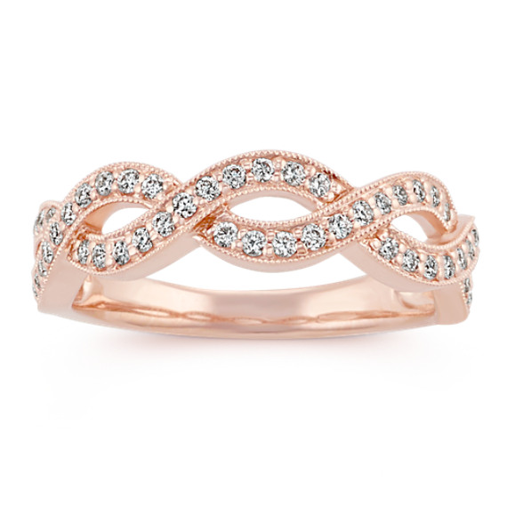 Round Diamond Infinity Ring in 14k Rose Gold