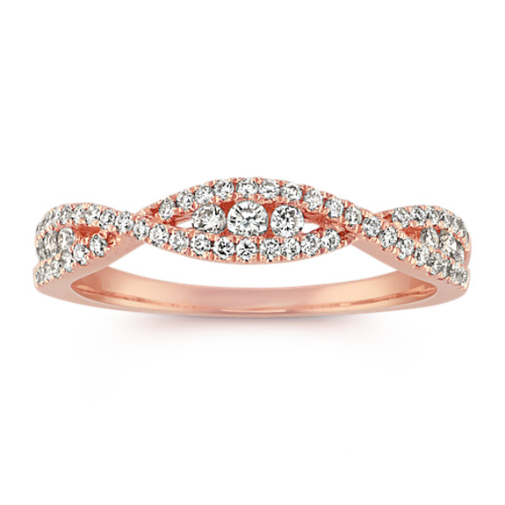 Round Diamond Infinity Swirl Band in 14k Rose Gold