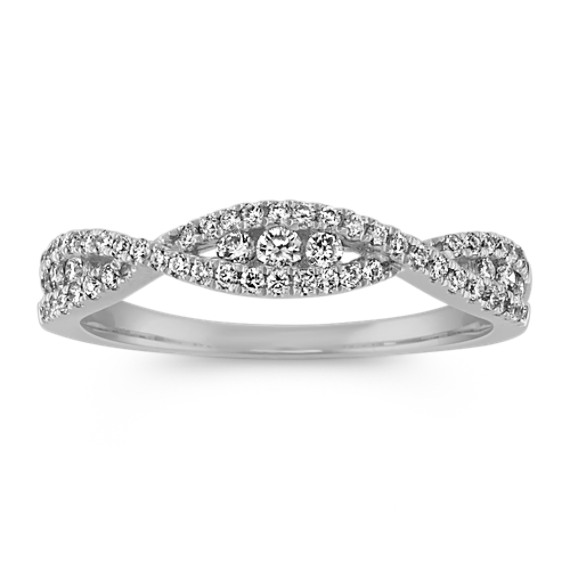 Round Diamond Infinity Swirl Band in 14k White Gold