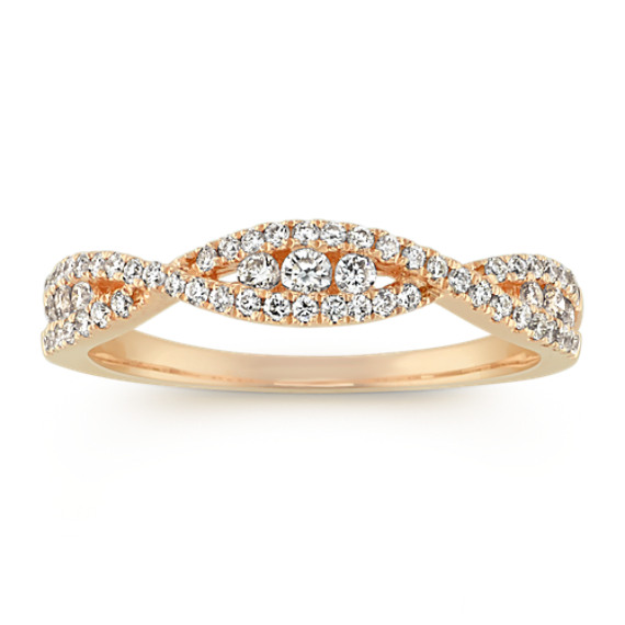 Round Diamond Infinity Swirl Band in 14k Yellow Gold