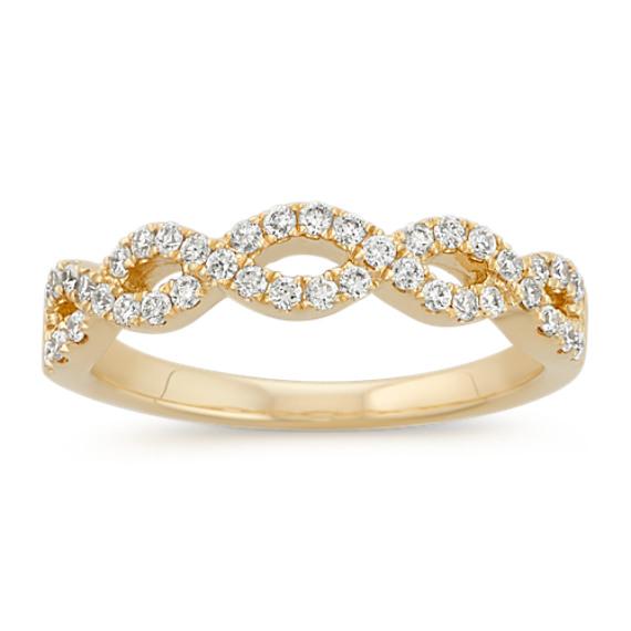 Round Diamond Infinity Swirl Wedding Band in 14k Yellow Gold
