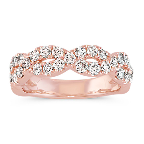 Round Diamond Infinity Wedding Band in 14k Rose Gold