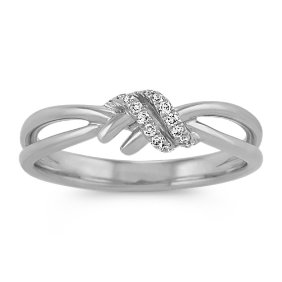 Round Diamond Knot Ring in 14k White Gold