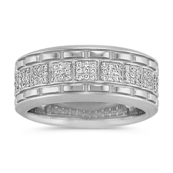 Round Diamond Men's Ring in 14k White Gold (9.5mm)