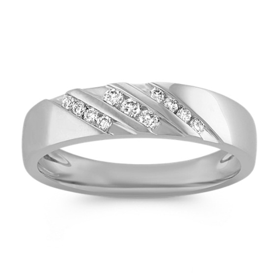 Round Diamond Mens Ring with Channel-Setting