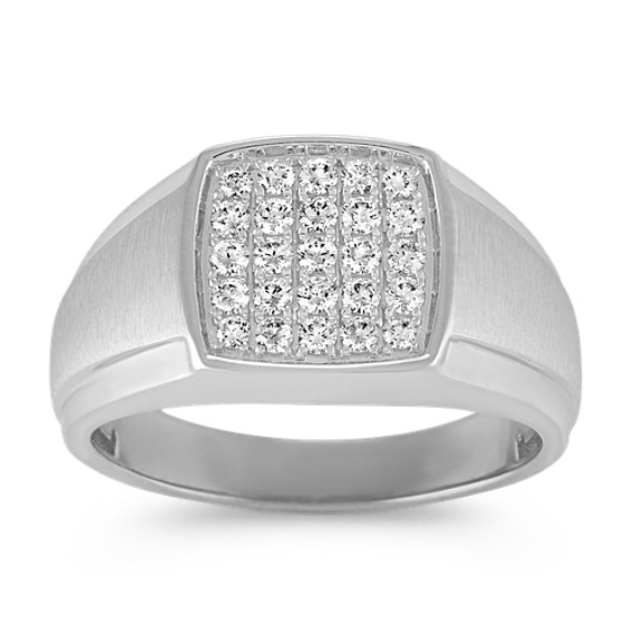 Round Diamond Mens Ring with Satin Finish (12mm)