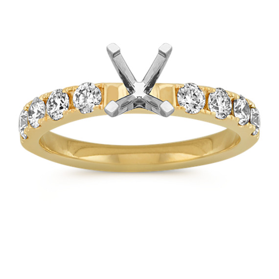 Round Diamond Pave-Set Engagement Ring in 14k Yellow Gold