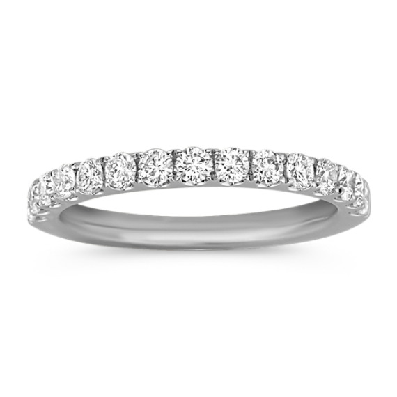 Round Diamond Pave-Set Wedding Band in Platinum