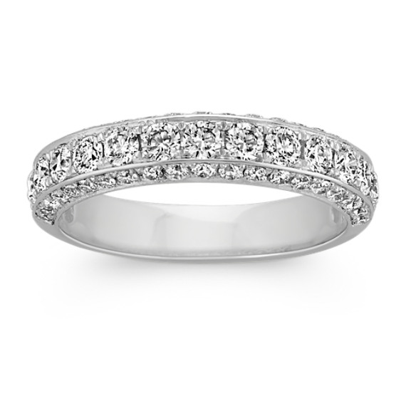 Round Diamond Platinum Ring with Pave-Setting