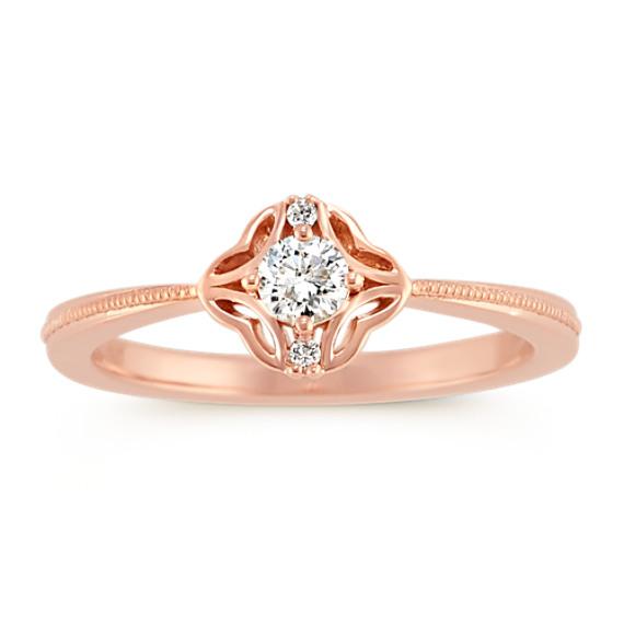 Round Diamond Ring in 14k Rose Gold