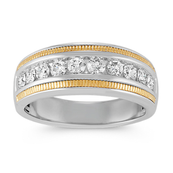 Round Diamond Ring in 14k White and Yellow Gold (8.5mm)