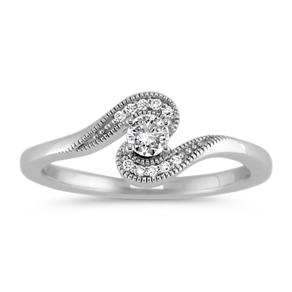 Round Diamond Ring with Milgrain Detailing in Sterling Silver