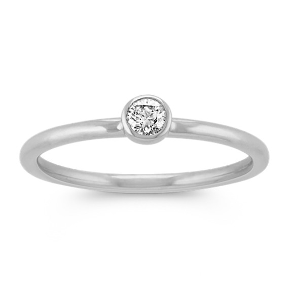 Round Diamond Stackable Ring in 14k White Gold