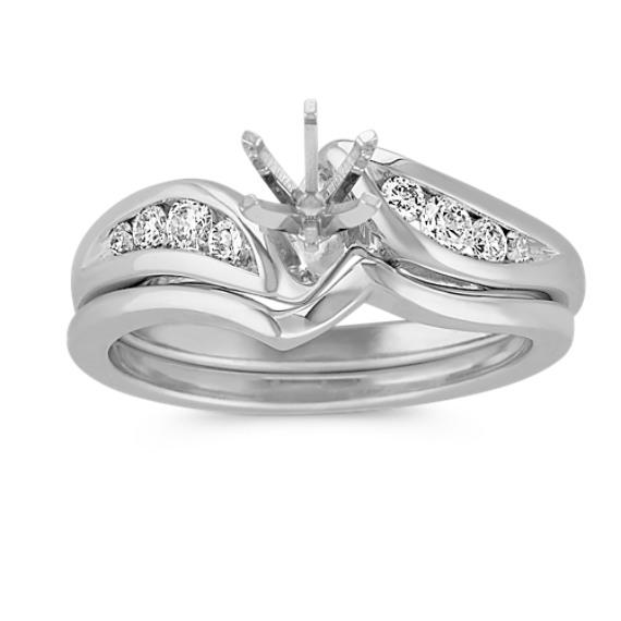 Round Diamond Swirl Diamond Wedding Set
