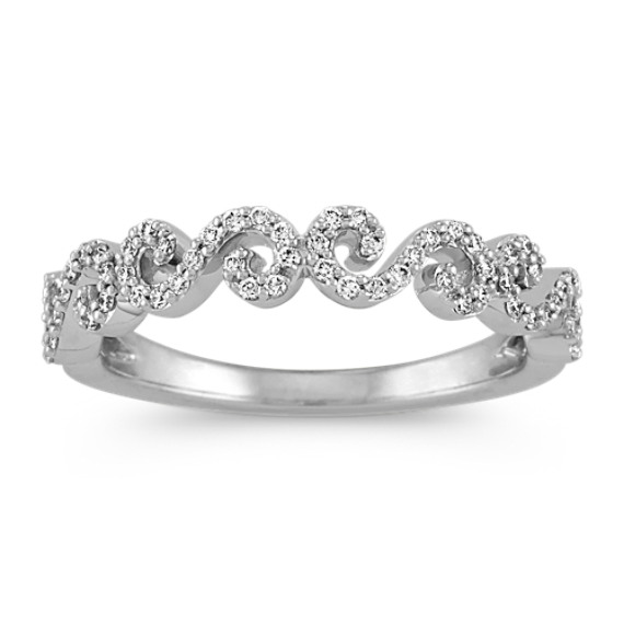 Round Diamond Swirl Wedding Band in 14k White Gold