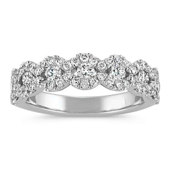 Round Diamond Swirl Wedding Band