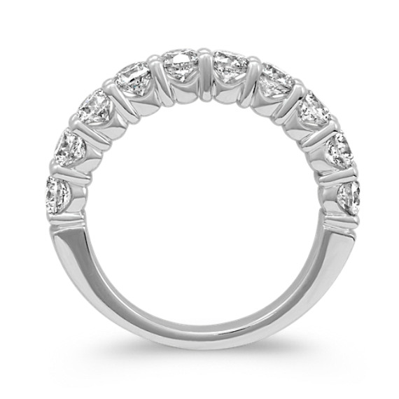 Round Diamond Ten-Stone Wedding Band in 14k White Gold image
