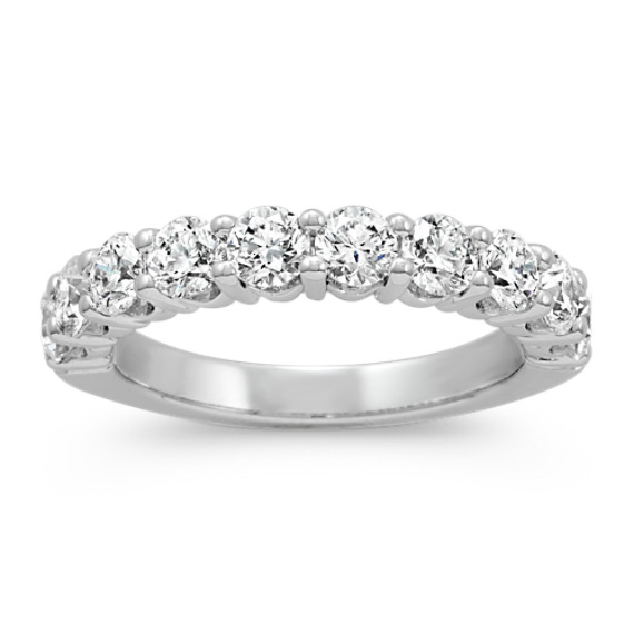 Round Diamond Ten-Stone Wedding Band in 14k White Gold