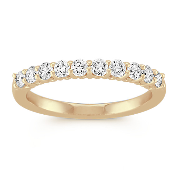 Round Diamond TenStone Wedding Band in Yellow Gold Shane Co
